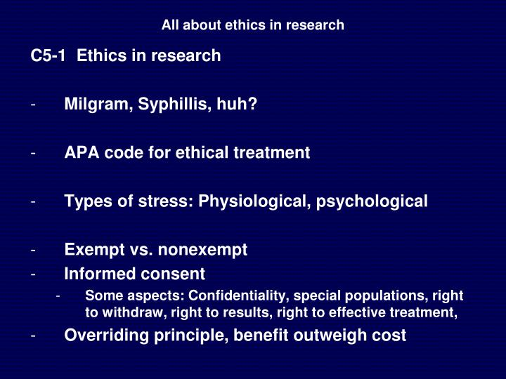 All about ethics in research
