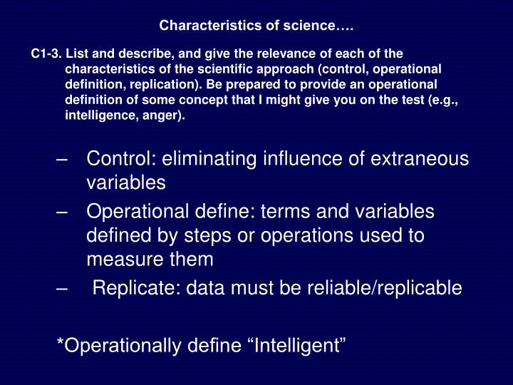 Characteristics of science….