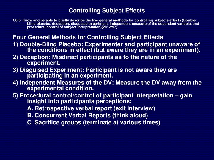 Controlling Subject Effects