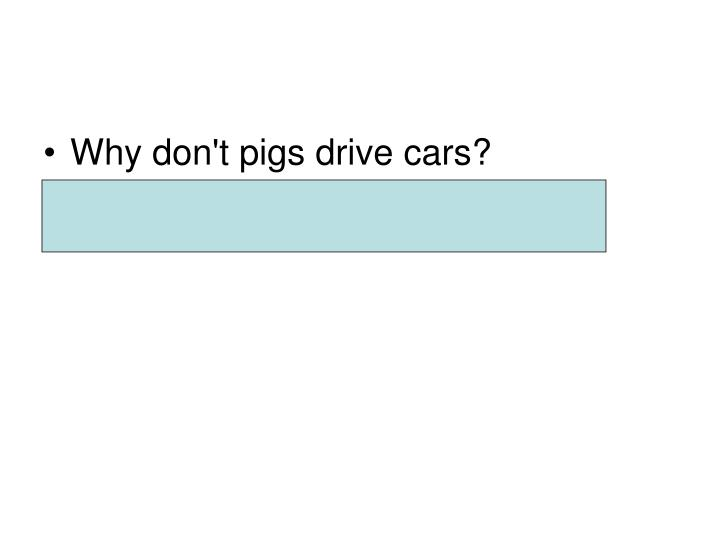 Why don't pigs drive cars?