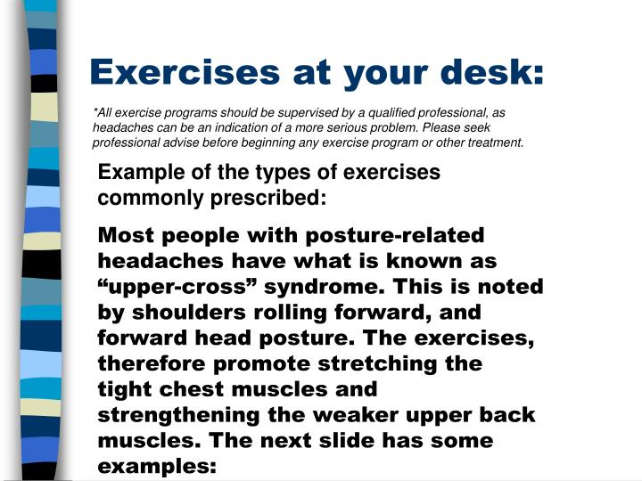 Exercises at your desk: