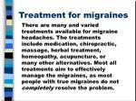 treatment for migraines