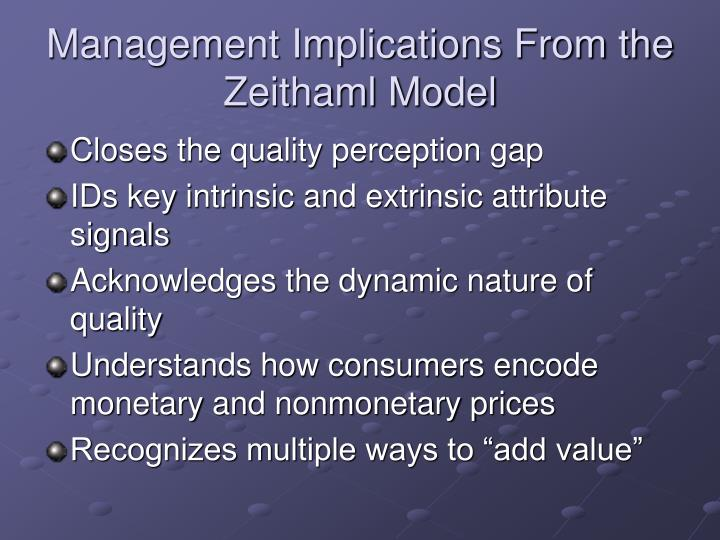 Management Implications From the Zeithaml Model