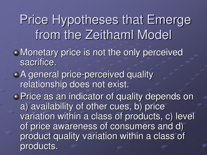 Price Hypotheses that Emerge from the Zeithaml Model