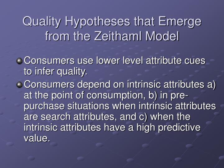 Quality Hypotheses that Emerge from the Zeithaml Model