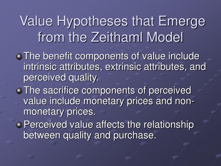 Value Hypotheses that Emerge from the Zeithaml Model