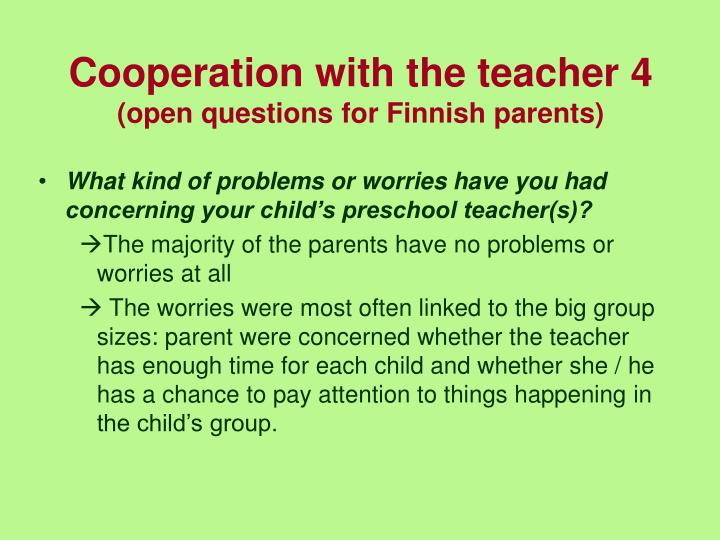 Cooperation with the teacher 4