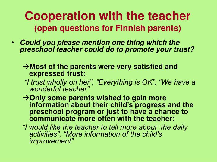 Cooperation with the teacher