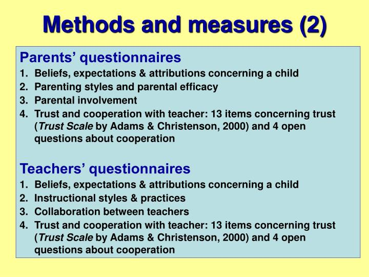 Methods and measures (2)