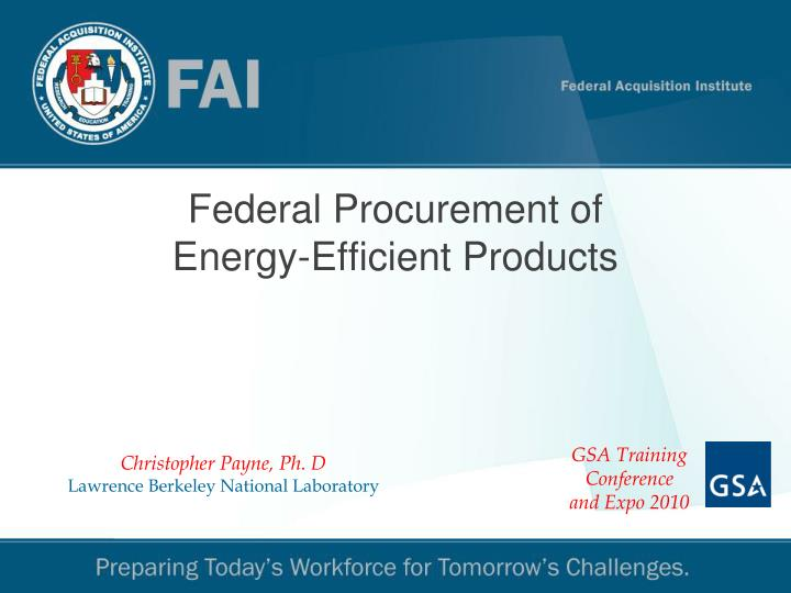 federal procurement of energy efficient products
