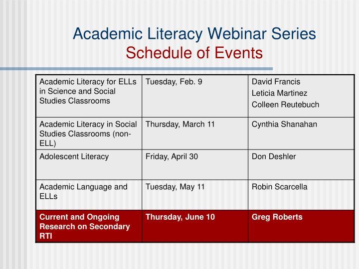 Academic Literacy Webinar Series