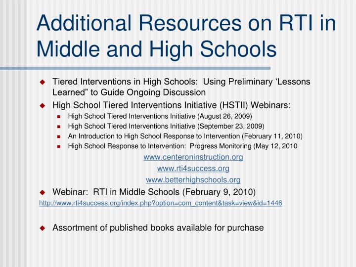 Additional Resources on RTI in Middle and High Schools