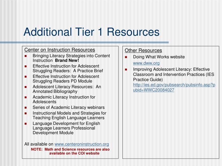 Center on Instruction Resources