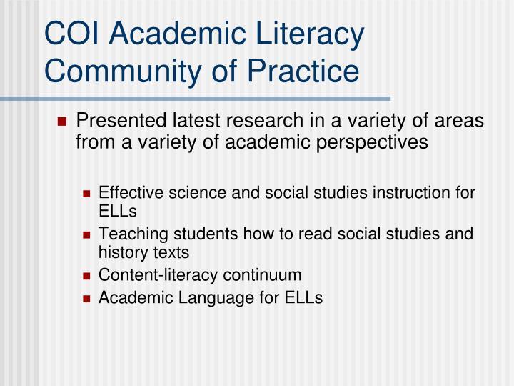 COI Academic Literacy Community of Practice