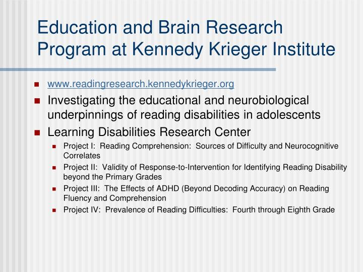 Education and Brain Research Program at Kennedy Krieger Institute