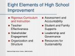 eight elements of high school improvement