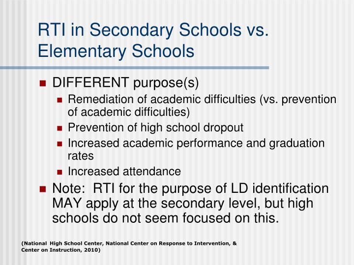 RTI in Secondary Schools vs. Elementary Schools