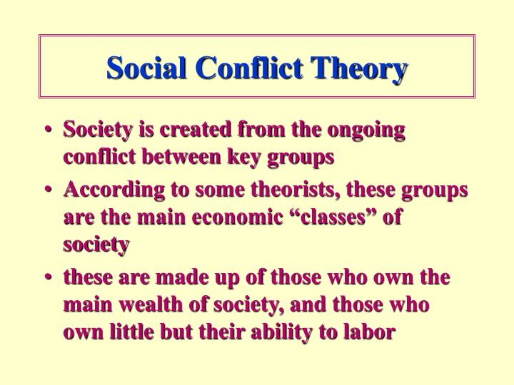 "essay on social conflict theory Social conflict theory i have decided to use a different approach to my essay and use personal experience for inspiration as defined in the wikipedia the ""social."