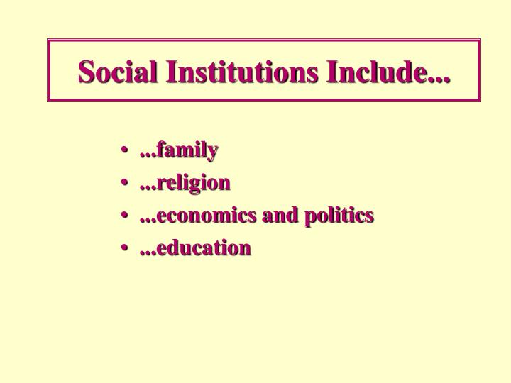 Social Institutions Include...