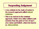 suspending judgement