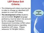 lep status exit criteria1