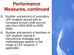 performance measures continued