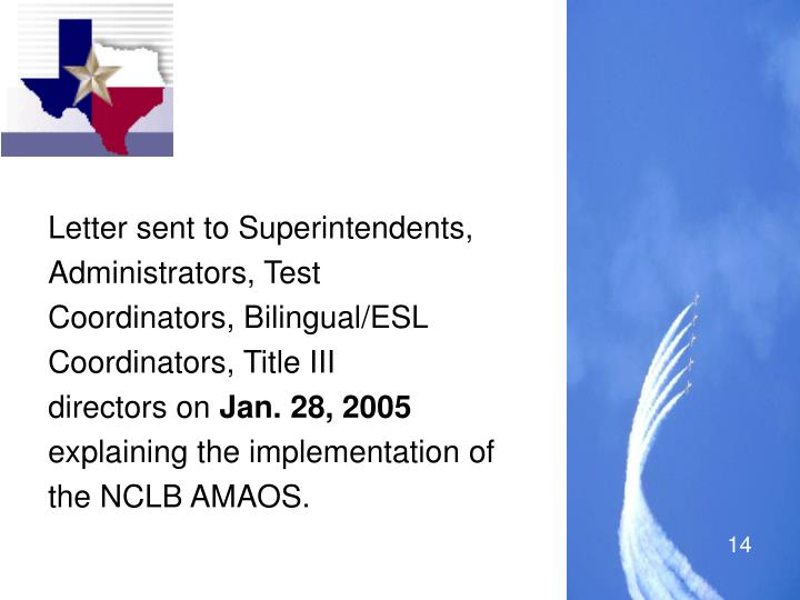 Letter sent to Superintendents,