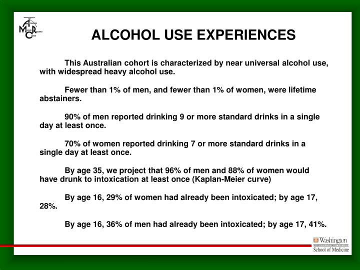 ALCOHOL USE EXPERIENCES