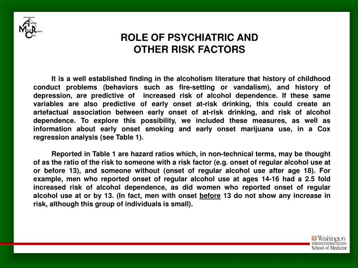 ROLE OF PSYCHIATRIC AND