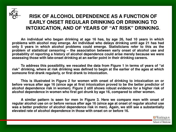 "RISK OF ALCOHOL DEPENDENCE AS A FUNCTION OF EARLY ONSET REGULAR DRINKING OR DRINKING TO INTOXICATION, AND OF YEARS OF ""AT RISK"" DRINKING"