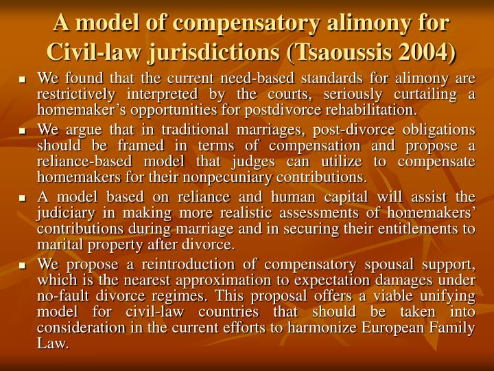 A model of compensatory alimony for Civil-law jurisdictions (Tsaoussis 2004)