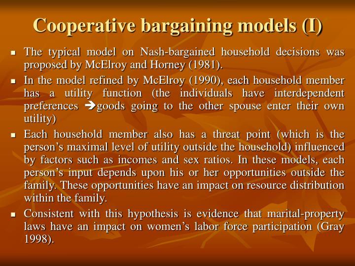 Cooperative bargaining models (I)