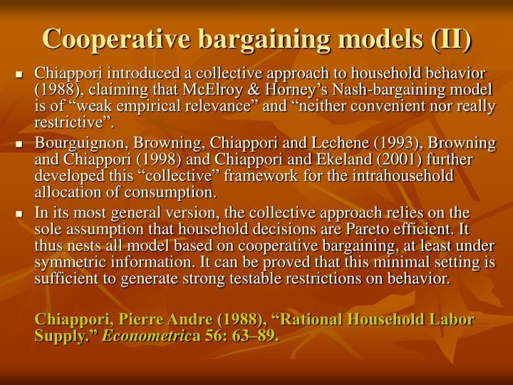 Cooperative bargaining models (II)