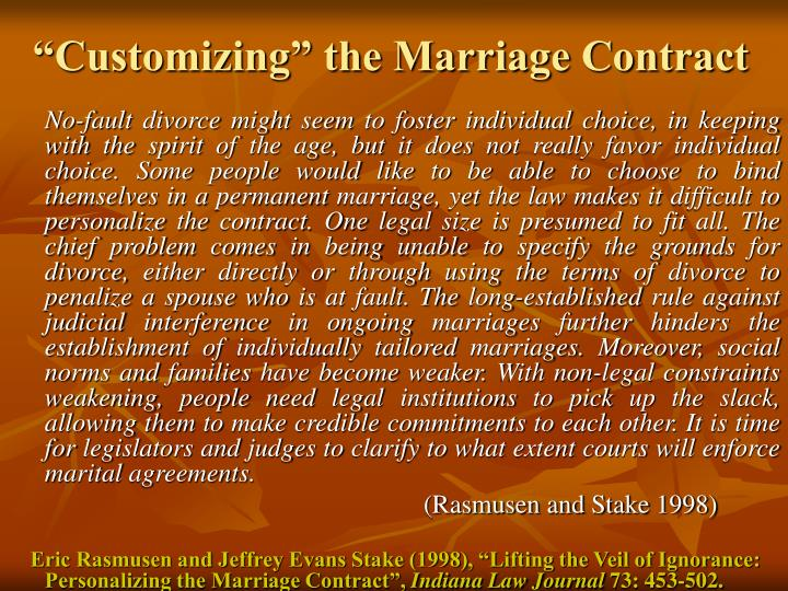 """""""Customizing"""" the Marriage Contract"""
