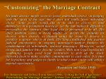 customizing the marriage contract