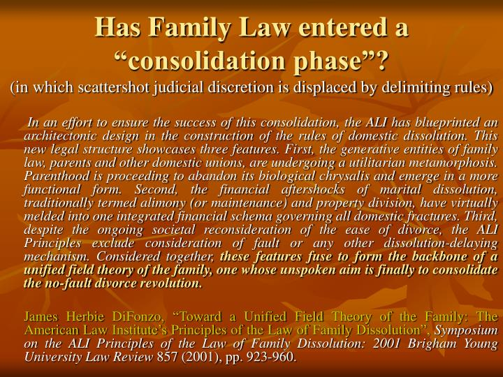 """Has Family Law entered a """"consolidation phase""""?"""