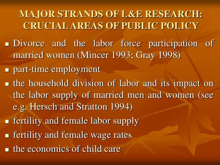 MAJOR STRANDS OF L&E RESEARCH: