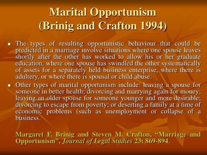 Marital Opportunism