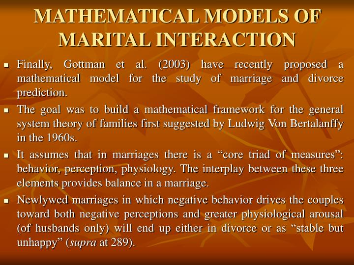 MATHEMATICAL MODELS OF MARITAL INTERACTION