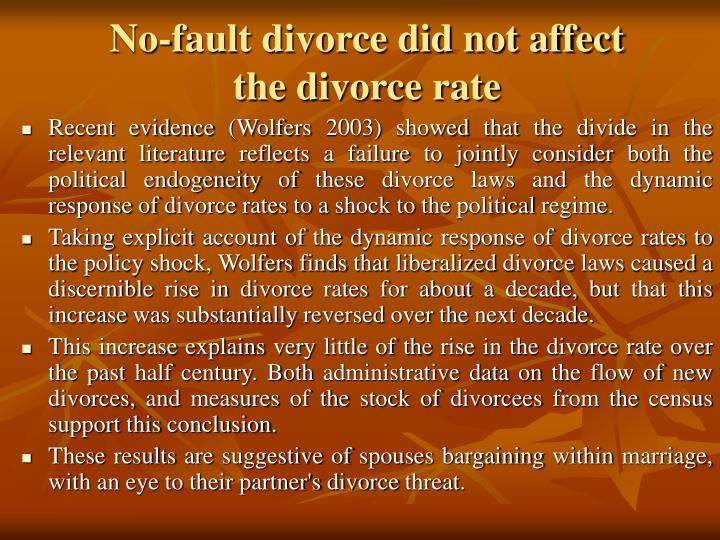 No-fault divorce did not affect
