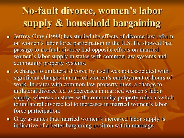 No-fault divorce, women's labor supply & household bargaining