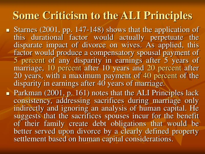Some Criticism to the ALI Principles