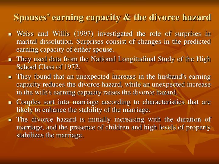 Spouses' earning capacity & the divorce hazard