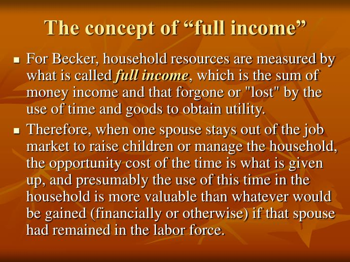 """The concept of """"full income"""""""