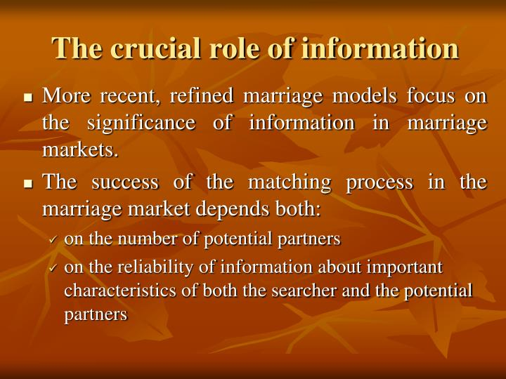 The crucial role of information