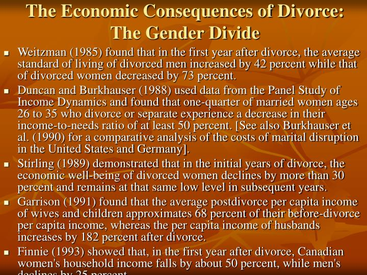The Economic Consequences of Divorce: The Gender Divide