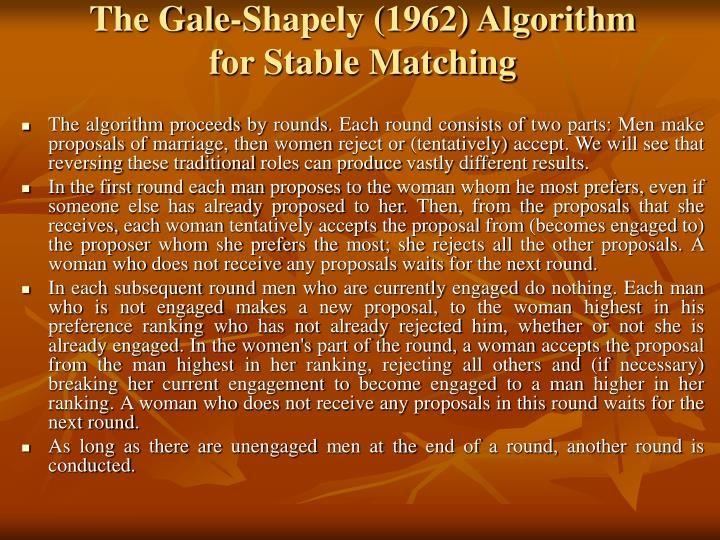 The Gale-Shapely (1962) Algorithm