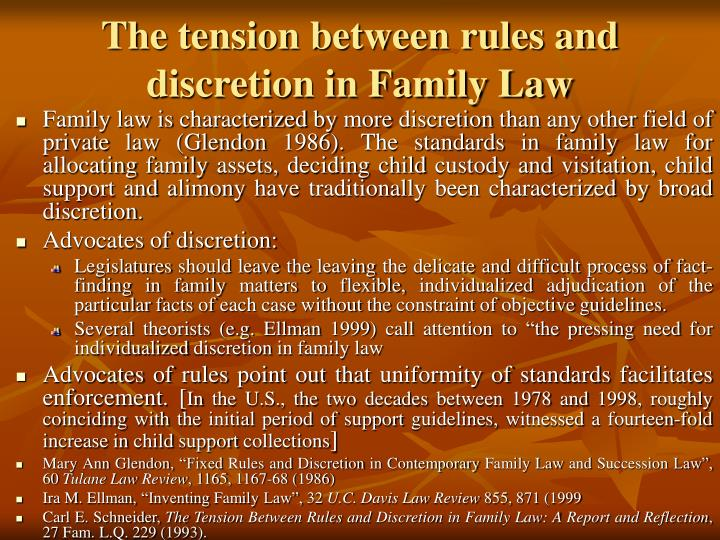 The tension between rules and discretion in Family Law