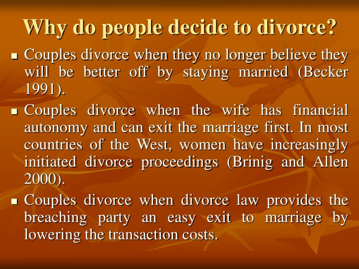 Why do people decide to divorce?