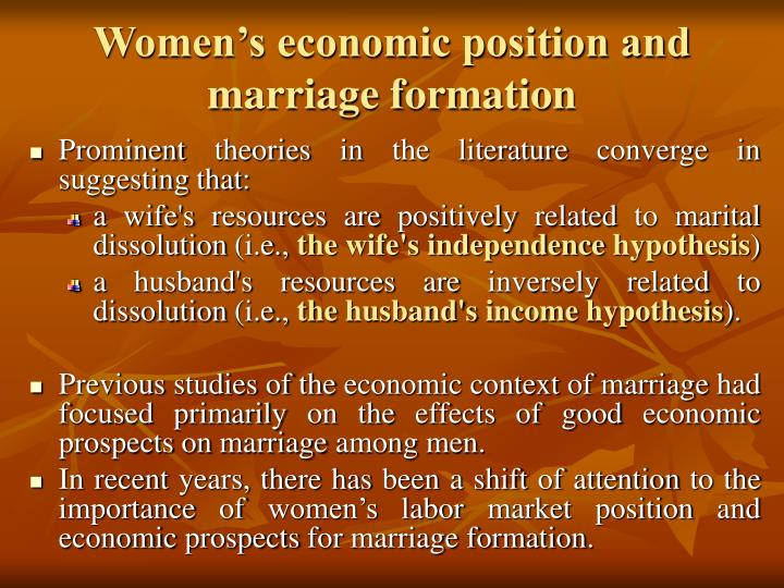 Women's economic position and marriage formation